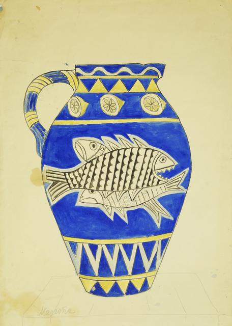 Marie Vorobieff Marevna, 'Vase decorated with fish on blue ground', Roseberys