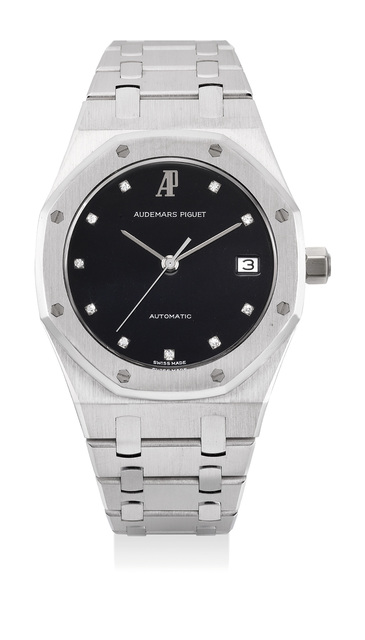Audemars Piguet, 'A fine, very rare and elegant white gold wristwatch with sweep center seconds, black dial, diamond-set numerals, date, bracelet and presentation box', 1991, Phillips