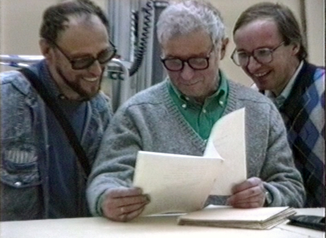 , 'Dmitri Prigov, Ilya Kabakov, and Andrei Erofeev at the opening of In the USSR and Beyond. Seventy-Seven Russian Artists. 1970–1990 at Stedelijk Museum in Amsterdam, September 22, 1990,' 1990, Garage Museum of Contemporary Art