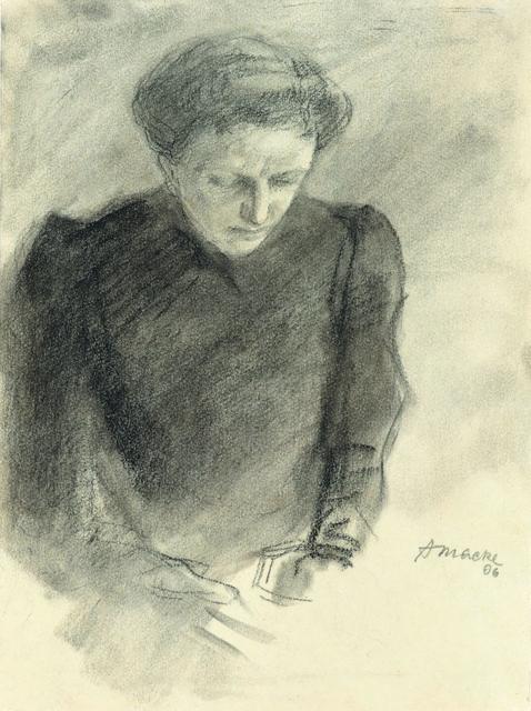 , 'Ottilie Macke mit gesenketm Blick,' 1906, Ludorff