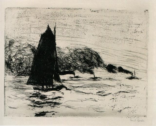, 'Segler und drei kleine Dampfer (Sailboat and Three Small Steamboats),' 1910, Alice Adam Ltd.