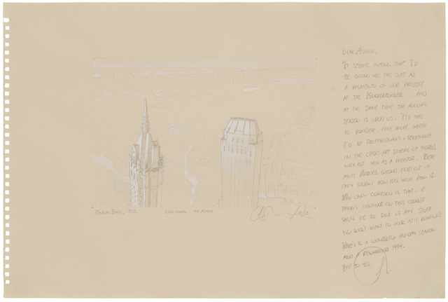 Stephen Hannock, 'Central Park', 1992-93, Drawing, Collage or other Work on Paper, Gouache and graphite on sheet from spiral bound drawing pad, Doyle