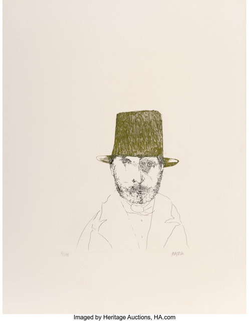 Leonard Baskin, 'Rudolphe Bresdin, from Laus Pictorum: Portraits of Nineteenth Century Artists', c. 1969, Print, Etching in colors on wove paper, Heritage Auctions