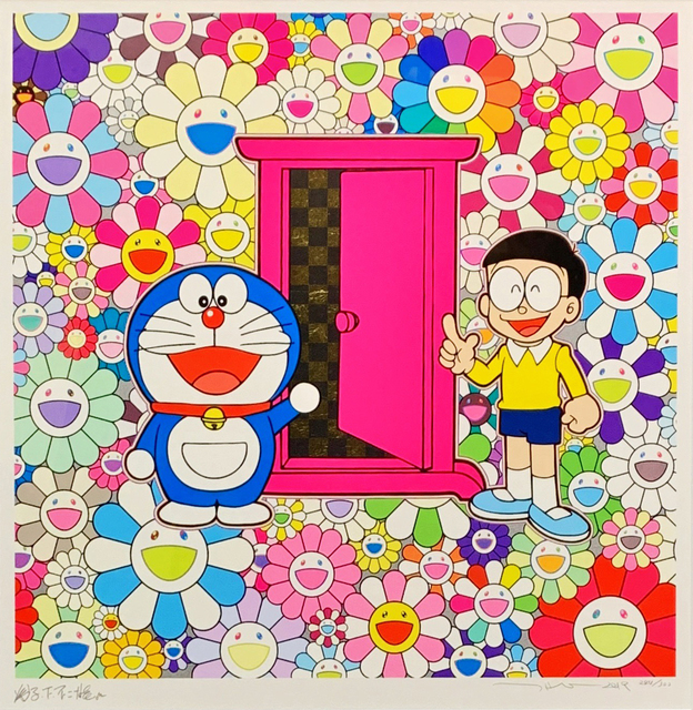 Takashi Murakami, 'Anywhere Door (Dokodemo Door) in the Field of Flowers', 2018, Print, Silk Screen, Shukado Gallery