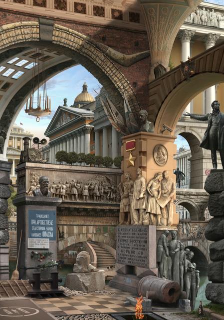 , 'Urban Chiaroscuro VIII; St Petersburg (after Piranesi),' 2012, GBS Fine Art