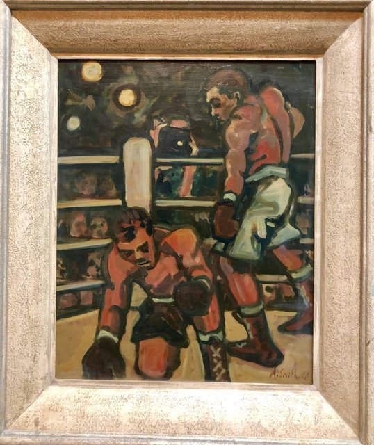 Arthur Smith, 'Boxing Sporting Painting 'Down for the Count' WPA artist Americana', Mid-20th Century, Painting, Canvas, Oil Paint, Lions Gallery