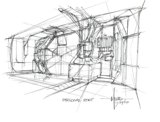 Syd Mead, 'Concept Sketch for Aliens Game, Personnel Port with Pressure Doors', 2007, Edward Cella Art and Architecture