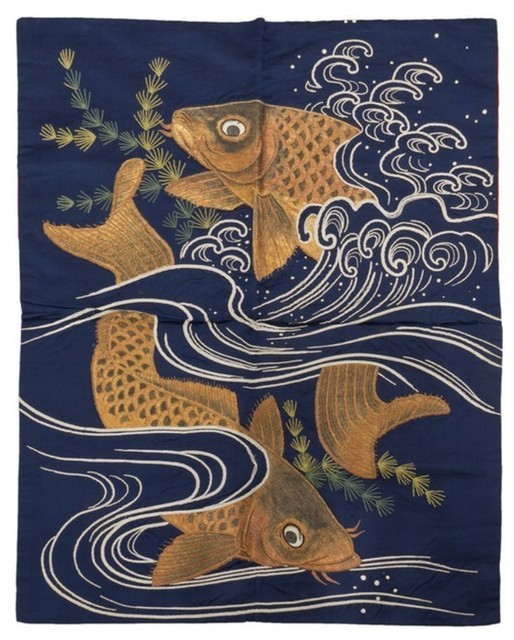 Unknown Japanese, 'Koi and Waves, Fukusa', Meiji Period (1868-1912), Heather James Gallery Auction