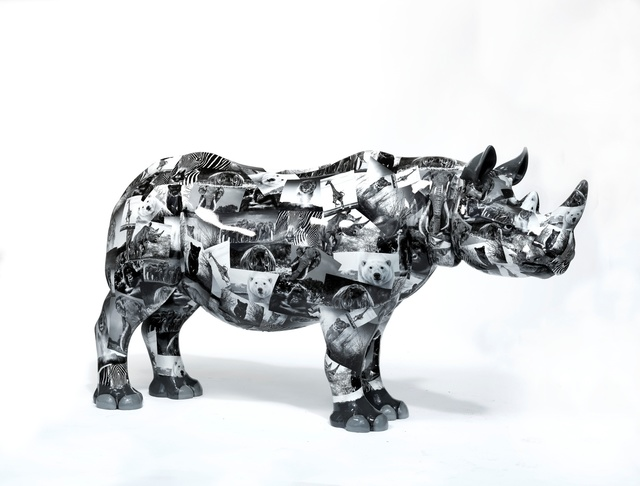 David Yarrow, 'The Untouchables', 2018, Sculpture, Rhino: fibreglass rhino (fire retardant) with internal armature Finish: Paint and hand applied bespoke designed vinyl images, Tusk Benefit Auction
