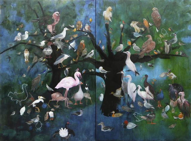 , 'La liste ou Grand diptyque aux Oiseaux,' 2018, Under Construction Gallery