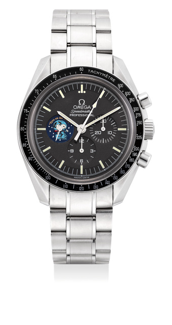 """OMEGA, 'A fine and rare limited edition stainless steel chronograph wristwatch with tachymeter scale, bracelet, warranty and box, numbered 328 of a limited edition of 5441 pieces, made to commemorate the """"Silver Snoopy Award"""" presented to Omega', Circa 2004, Phillips"""