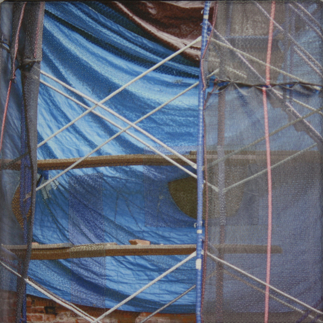 Luanne Rimel, 'Blue Tarp / Manhattan', 2019, Print, Photograph printed on silk, pieced, hand stitched, Duane Reed Gallery