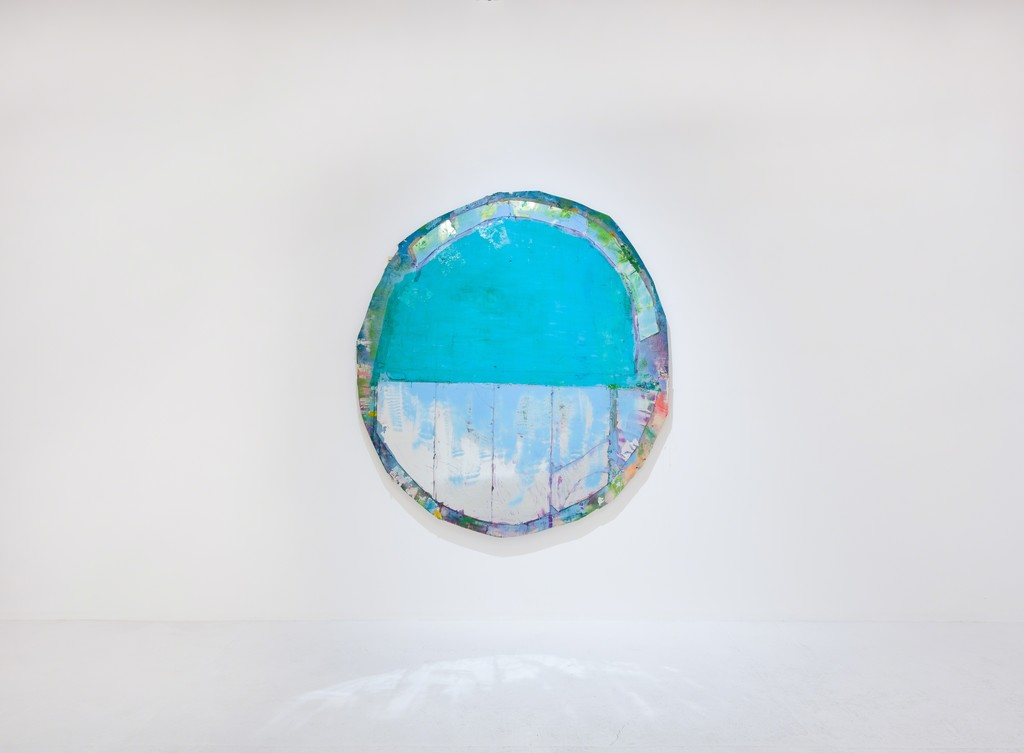 Daniel John Gadd', Rosemma', 2016, oil, mirrored glass, aluminum leaf and wax on wooden panel, 66 x 64 inches
