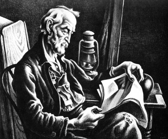 Thomas Hart Benton, 'Old Man Reading', 1941, Print, Lithograph, Kiechel Fine Art