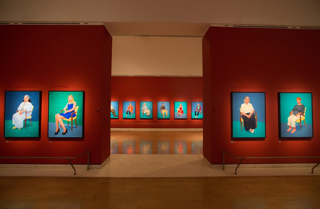 Installation view of David Hockney RA: 82 Portraits and 1 Still-life © David Parry/ Royal Academy of Arts