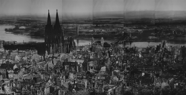 , '1945, Aerial view of Cologne after bombing,' 2019, Christine König Galerie