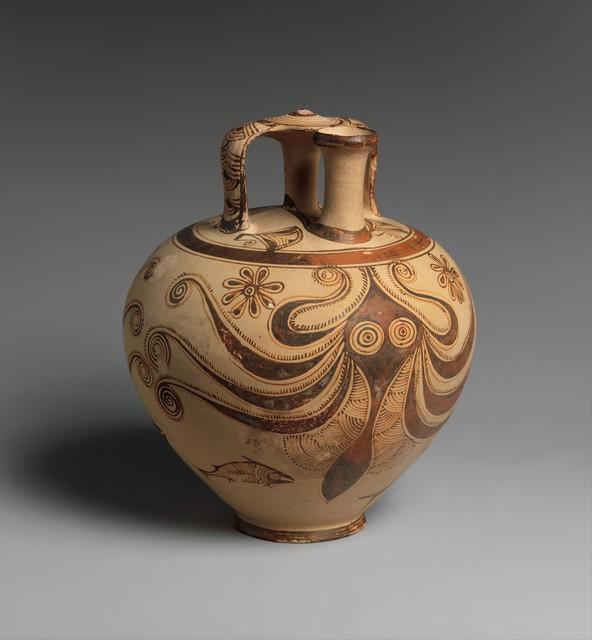Unknown Helladic, 'Terracotta stirrup jar with octopus', ca. 1200–1100 B.C., The Metropolitan Museum of Art