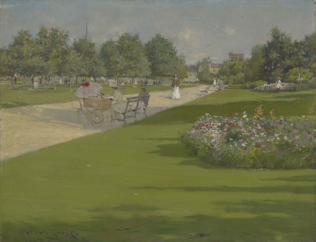 William Merritt Chase, 'Tompkins Park, Brooklyn', 1887, Painting, Oil on canvas, Colby College Museum of Art