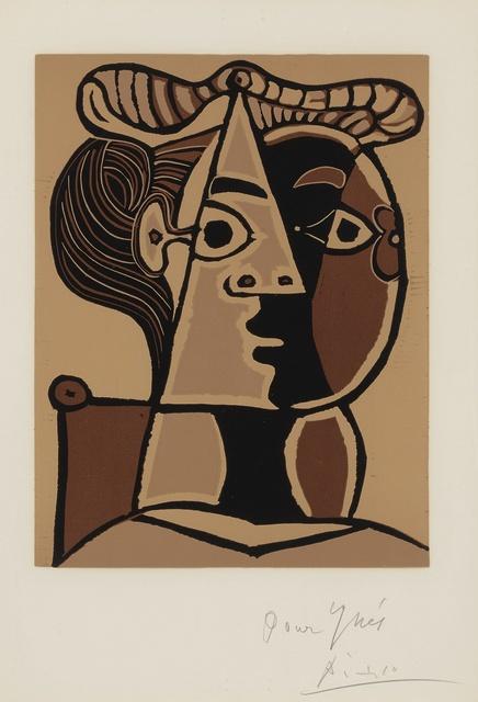 Pablo Picasso, 'Femme assise au chignon (B. 1071; Ba. 1298)', 1962, Print, Linoleum cut printed in colors, Sotheby's