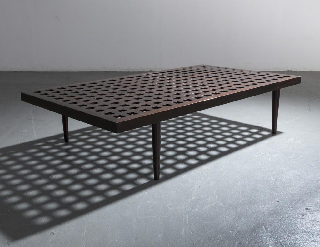 Joaquim Tenreiro, U0027Checkerboard Coffee Table In Ebonized Wood.u0027, Ca. 1950