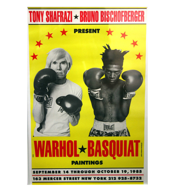 ", '""Warhol / Basquiat Paintings"", Poster/Invite, Shafrazi Exhibition NYC, POST MARKED,' 1985, VINCE fine arts/ephemera"