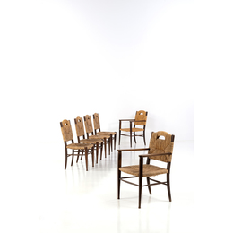 """Rendez vous des pêcheurs de truite""; Set of two chairs and for Armchairs"