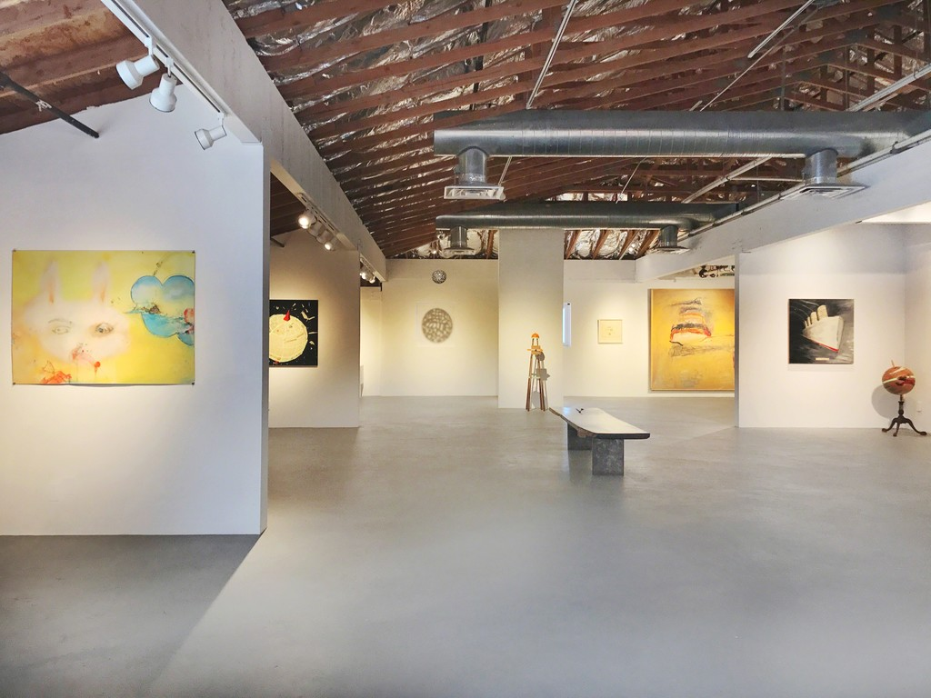 Featured exhibition room works by Sally French and Doug Britt. Background project room work pictured by Tom Lieber.