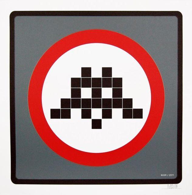 Invader, 'Warning Invader (Grey)', 2011, Prescription Art