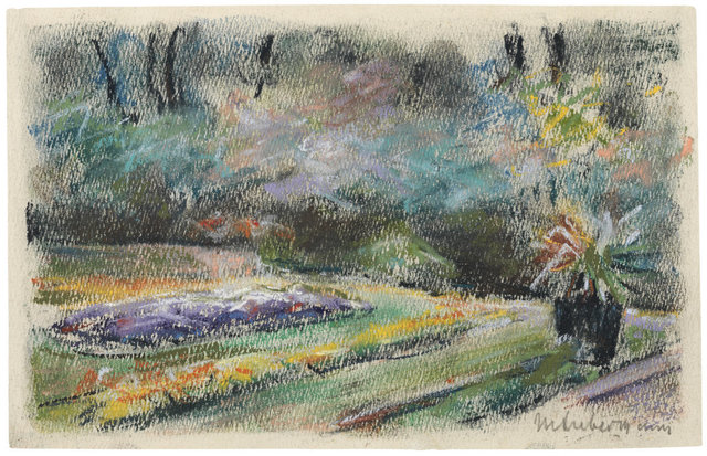 , 'Die Blumenterrasse im Garten des Künstlers am Wannsee nach Nordwesten,' 1927, Ludorff