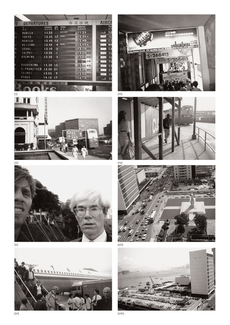 Andy Warhol, 'Eight works: (i) Airport; (ii) Hong Kong Airport; (iii) Pedestrian Walkway and Signs; (iv) Street Scene with People and Bus; (v) Andy Warhol with Christopher Makos; (vi) Airport; (vii) Hong Kong; (viii) Hong Kong Harbour', 1982, Phillips