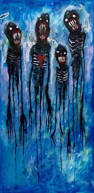 """, 'Dark beings > Mixed medium on wood > 24x12"""" > 3,300,' 2019, Pigalle Gallery"""