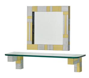 Cityscape mirror and shelf