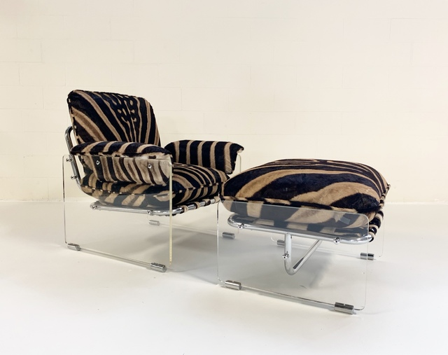 Pace Collection, 'Argenta Lucite and Chrome Lounge Chair and Ottoman Restored in Zebra Hide', 1970s, Forsyth