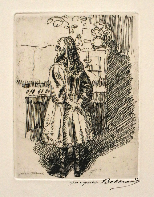 Jacques Beltrand, 'Fille debout devant le piano - Girl standing in front of the piano', Early 20th century, Hans den Hollander Prints