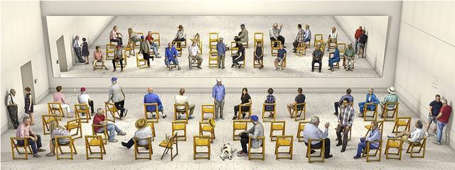 David Hockney, 'Pictured Gathering with Mirror', 2018, Annely Juda Fine Art