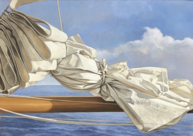 "Michel Brosseau, '""Cloudy Sail"" oil painting of a folded sail with blue ocean behind', 2019, Eisenhauer Gallery"