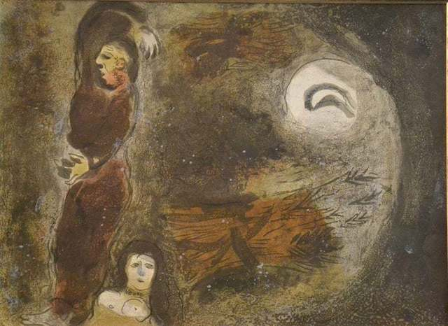 """Marc Chagall, ' Ruth at the feet of Boaz- from the series """"Illustrations for the Bible""""', 1960, Wallector"""