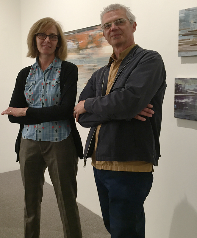 Artist Patti Bowman on opening night at Linda Hodges Gallery, Seattle (3/5/2015), with gallery director Dale Cotton
