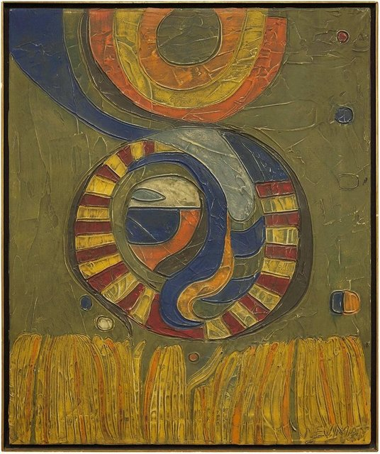 Robert S. Neuman, 'Geometric Composition, Abstract Oil Painting', Mid-20th Century, Lions Gallery