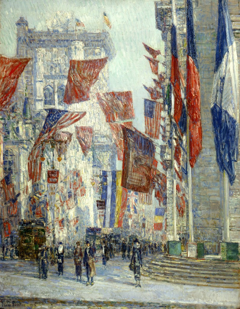 Childe Hassam, Avenue of the Allies, 1918. Oil on canvas. Private collection