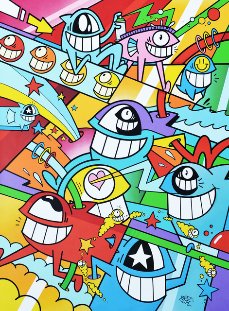 El Pez, 'Superhappy Days', 2020, Painting, Acrylic and Aerosol with Stencil on Linen Canvas, 2B Art & Toys