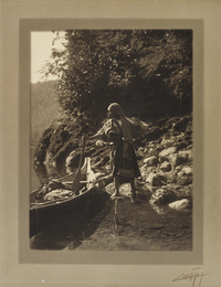 Untitled (Native American woman and canoe)