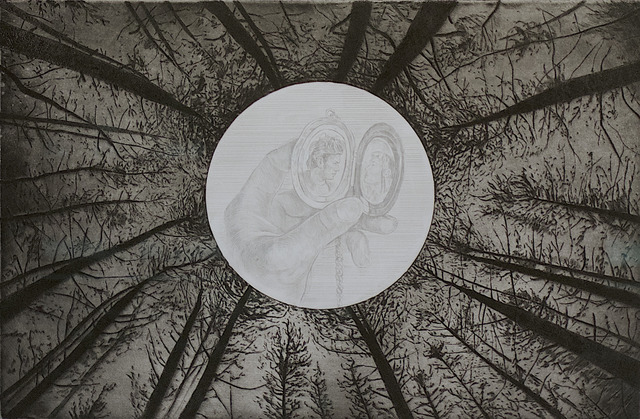 Tyler Bright Hilton, 'That Night...', 2018, Drawing, Collage or other Work on Paper, Silverpoint, etching and aquatint on paper, VIVIANEART