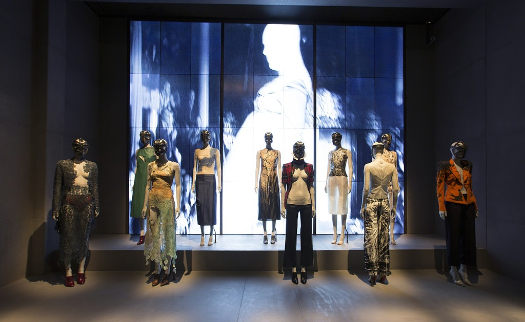 Installation view of 'London' gallery. Alexander McQueen: Savage Beauty, at the Victoria and Albert Museum, London,  2015