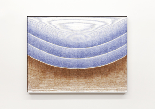 Mimi Jung, '102417 Pale Blue and Brown Ellipses', 2020, Textile Arts, Mohair, cotton, painted plywood and aluminum frame, Carvalho Park