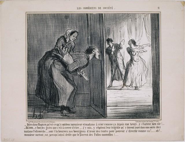 Honoré Daumier, 'Les Comédiens de Société: Dites-donc Baptiste, qu'est ce qu'y ont donc…', 1858, Print, Lithograph on paper, Phillips Collection