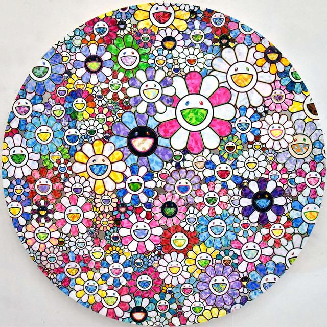 Takashi Murakami, 'Celestial Flowers', 2018, Painting, Acrylic and platinum leaf on canvas mounted on wood panel, Gagosian
