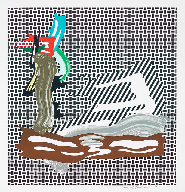 Roy Lichtenstein, 'Brushstroke on Canvas', 1989, Print, Lithograph on Rives BFK paper, 12 colors in 11 runs, from 12 aluminum plates., Fine Art Mia