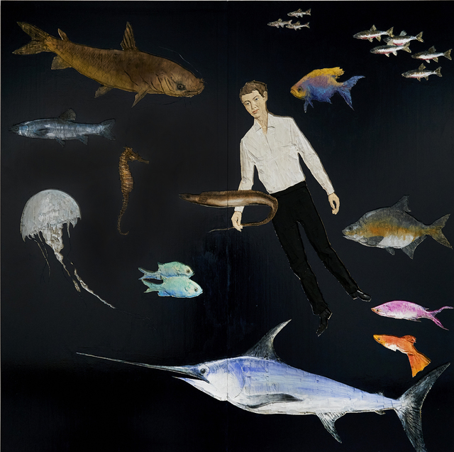 , 'Man with fishes,' 2017, Galeria Senda
