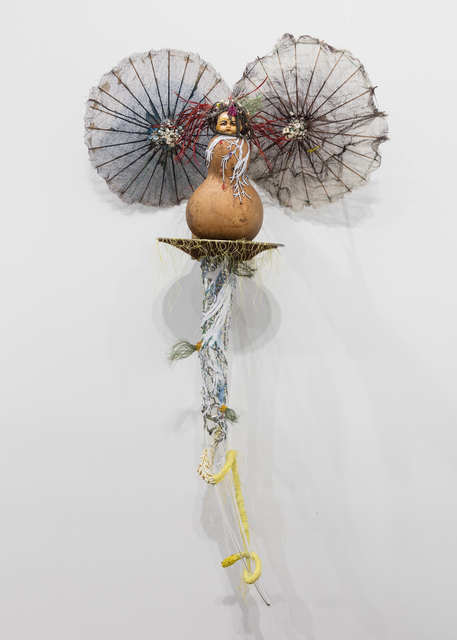 , 'Hardness of living in one place, like horn, and too many thorns made her throat fall in her, scratched her to utter without flutter, inhaled malice softly from her neighbors, at last after forever she grew more older, never meaner and produced breath of odoers that sent for new migrations.,' 2017, Galerie Nathalie Obadia